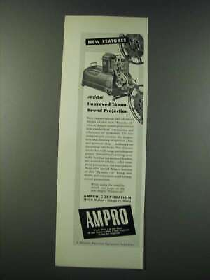 1947 Ampro Premier-20 16mm Movie Projector Ad - New Features