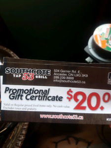 $60 gift certificates for Southcote 53