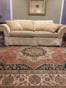 Ethan Allen, Beige, Embroidered, Hand-crafted Sofa (3 seater)