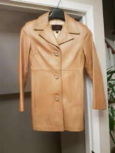 Ladies Camel Leather Coat
