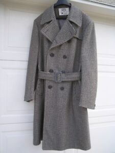 A classic vintage men's wool Crombie double breasted belted coat