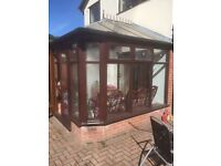 Wooden conservatory for sale and fan