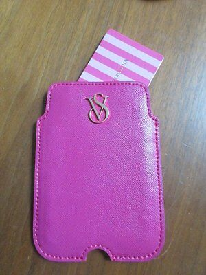 Victorias Secret Pink Id Credit Card Holder Pink Wallet Case Leather New