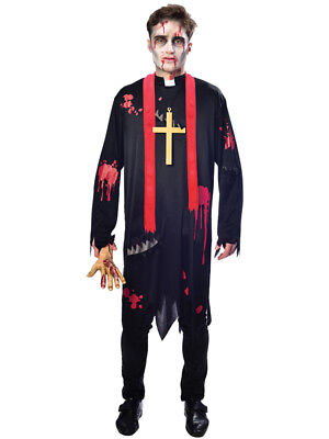 Adult Zombie Vicar Priest Costume Mens Scary Evil Halloween Fancy Dress Outfit](Evil Priest Halloween Costume)