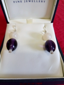 PAIR OF NEW LARGE AMETHYST, AND ROSE QUARTZ BEAD ,SILVER EARRINGS