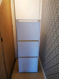 2 White Shoe Storage Cabinets