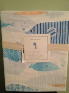 Pottery Barn Kids Funny Fish Twin 3 piece Sheet Set NEW