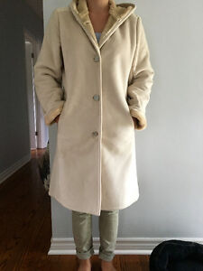Ivory Suede Hooded Winter Coat