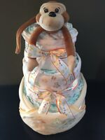 Diaper cake and baby gift basket