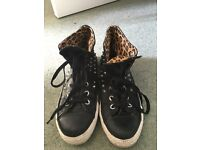 *RARE* leather studded size 6 converses with leopard print detail