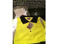 5 Hi-viz polo shirts, size XL