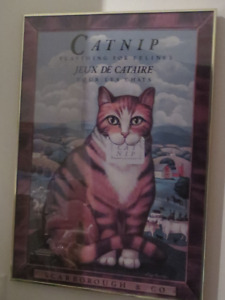 "Cat Nip Poster - Framed Under Glass - Makes a ""purrfect"" gift!"
