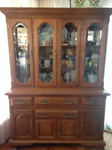Maple Hutch and Cabinet