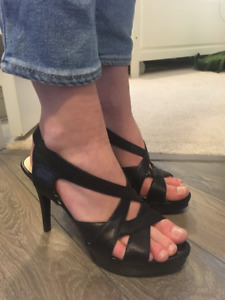 Nine West Black Leather Strappy Heels