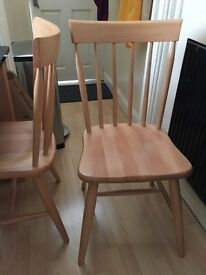John Lewis solid wooden dining chairs x 3
