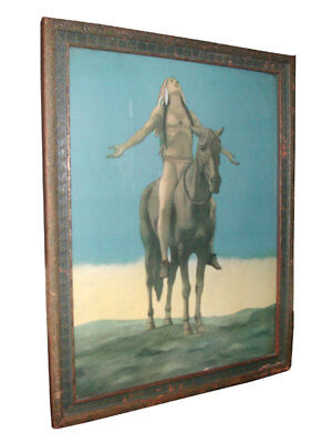 FRAMED PRINT OF INDIAN ON HORSEBACK LOOKING UP WITH OUTSTRETCHED ARMS  (4190A)