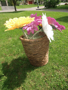 Giant Cheerful  Daisies in Tall Wicker/Rush Basket