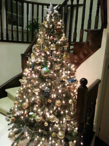 Artificial Christmas Tree with lights, 7.5 feet tall