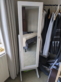 Unused lockable cheval mirror with jewellery storage full length white