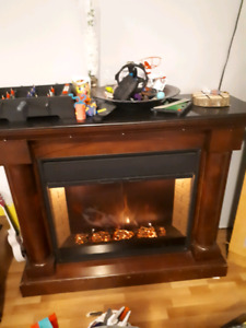 Electric fireplace remote and mantel $60
