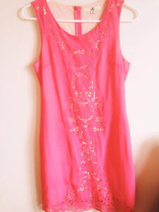 RUCHE Bright Pink Lace Fitted Dress