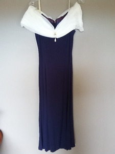 Navy blue with white chiffon floor length formal dress