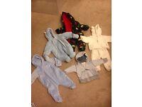 Large 0-3 month boy bundle. Sleeping bags, sleep suits, pram suits & more. A great bargain!