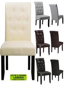 Chaise salle a manger salon laredo facon cuir bycast neuf for Chaise salon cuir