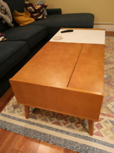 NEW Mid-Century Modern Birch and Marble Lift-Top Coffee Table