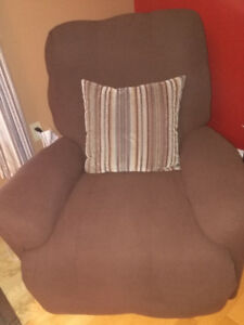 RECLINER WITH CHOC BROWN SLIP COVER