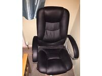 Black Leather Office Chair High Back