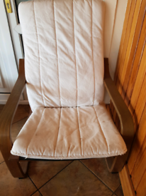Chair wooden frame with white cushion
