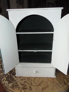 Shabby Chic White Solid HEAVY Wood 2 Door Cabinet: Beautiful!