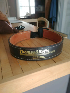 Thomas and Betts leather tool belt with seat belt clip.