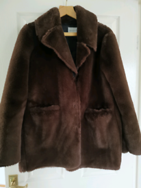 Warehouse chocolate brown faux fur coat size 12