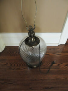 Glass Lamp base - bronze finished metal accents