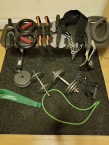Weight and strength set w/ dumbbells, bench, mat, elastic cords