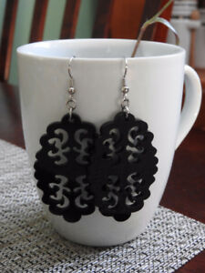 HANDMADE large black earrings - only $7!