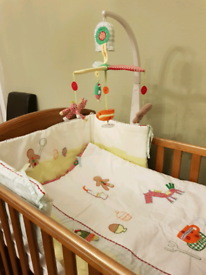 Mamas and papas cotbed, changer, mattress and nursery bedding, decor