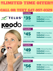 *NEW lower price* Koodo Telus 2/4/6/8/10/15GB LTE!!