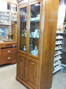 Vintage Wooden Display Tall Cabinet