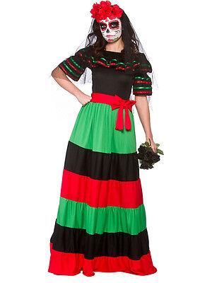 Mexican Day Of The Dead Senorita Zombie Bride Halloween Fancy Dress Costume New
