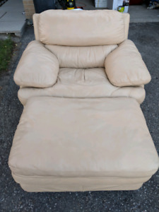 Oversized Real Leather Chair & Ottoman