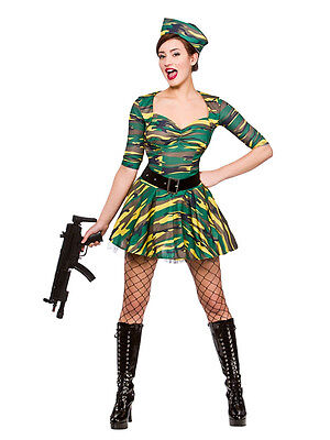 Adult Corporal Cutie Army Hen Fancy Dress Combat Ladies Costume UK Sizes - Combat Cutie Kostüm