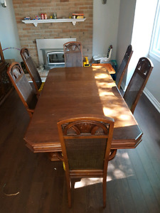 Table with 6 chairs and antique China cabinet