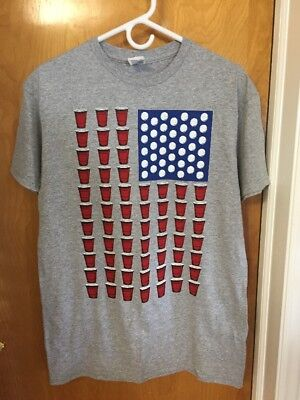 Mens Delta Beer Pong Light Gray Patriotic T-Shirt Red Solo Cups Size M Gray NWOT