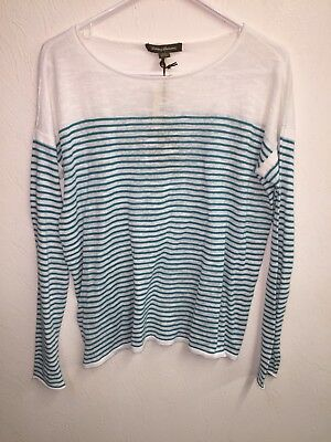 NEW Tommy Bahama Jami Stripe Pullover Thin Top NWT Small 4 6 Cayman Lagoon $98