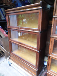 antique barrister bookcase 3 glass levels oversized