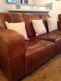 DFS 100% genuine leather 2&3 seater settee