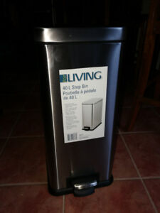 New For Living Rectangular Stainless Steel Garbage Bin, 40-L